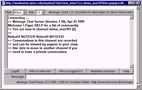 basic use of chat the fact that the chat applet opens in a separate window is unusual for manhattan all of manhattan s other modules work in a single browser window